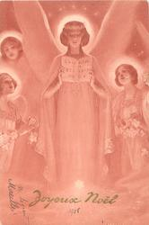 angels singing, leader with three attending smaller angels, holds up book GLORIA IN EXCELSIS DE0, starry sky