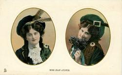 MISS JEAN AYLWIN  two insets side by side,Scottish dress, she holds heather in pose to right of card