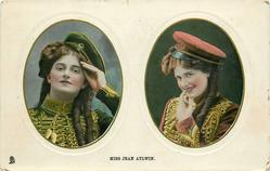 MISS JEAN AYLWIN  two insets side by side, hand to forehead in left, finger to mouth in right
