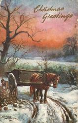 CHRISTMAS GREETINGS  horse & cart, man behind, mangolds left