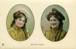 MISS JEAN AYLWIN  two insets side by side, smoking in left inset