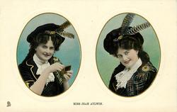 MISS JEAN AYLWIN  two insets side by side,Scottish dress, she opens box in pose to left of card