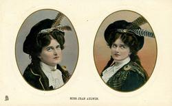 MISS JEAN AYLWIN  two insets side by side, Scottish dress, feathers in both hats, both looking up