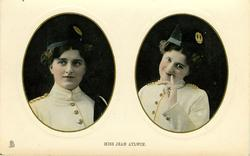 MISS JEAN AYLWIN  two insets side by side, military uniform, finger to lips in right pose