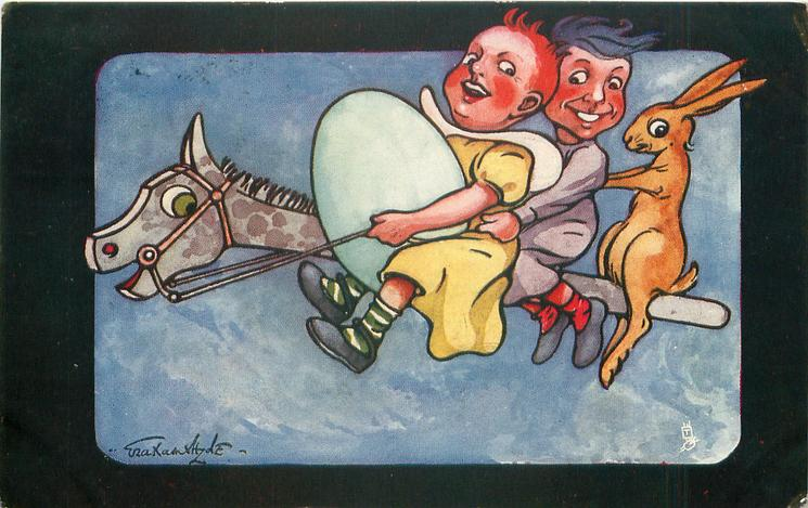 two children, rabbit & giant egg fly left on hobby-horse