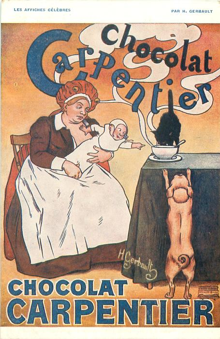 CHOCOLAT CARPENTIER baby on mother's lap, cat & dog all want bowl of chocolate on table