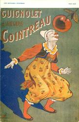 GUIGNOLET COINTREAU clown looks up at apple with eyes closed