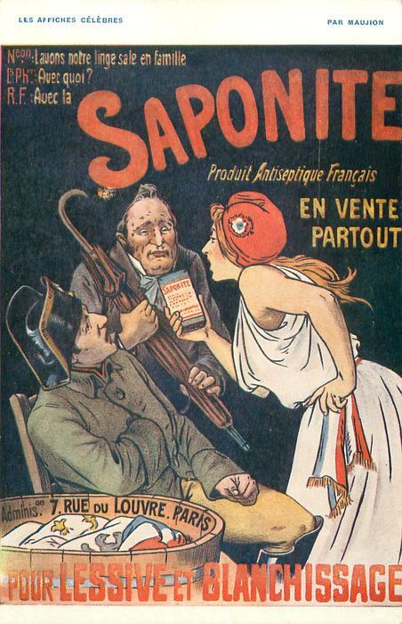 SAPONITE POUR LESSIVE ET BLANCHISSAGE, PRODUIT ANTISEPTIC FRANCAIS EN VENTE PARTOUT  woman offers SAPONITE to two men