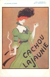 CACHOU LAJAUNIE woman in green dress, with cachou in one hand, cigarette in the other