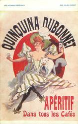 QUINQUINA DUBONNET APERITIF DANS TOUS LES CAFES woman with drink & cat