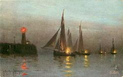 lighthouse left shining orange light, boats right coming in under sail