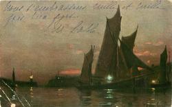 sun set on distant horizon, lighthouse left, many sailing vessels