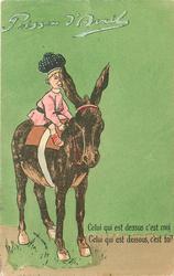 CELUI QUI EST DESSUS C'EST MOI, CELUI QUI EST DESSOUS C'EST TOI ! boy riding mule