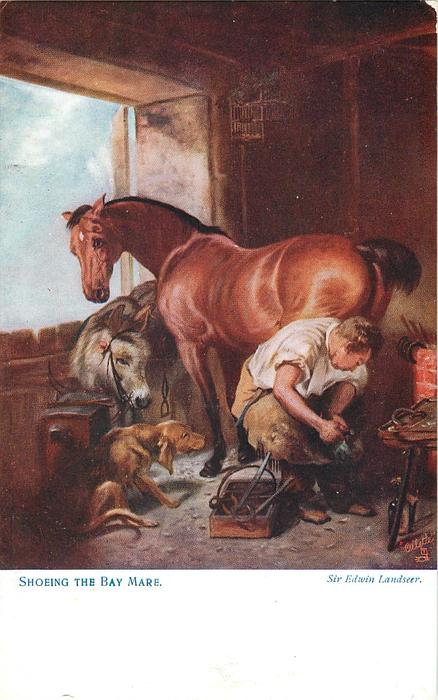 SHOEING THE BAY MARE