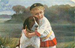 boy hugging dog, boys head erect, eyes fully open