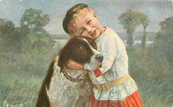 boy hugging dog, childs head tilted, eyes almost closed