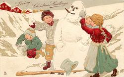LOVING CHRISTMAS GREETINGS, two children with snowballs on each side of snowman, stave & hat on ground