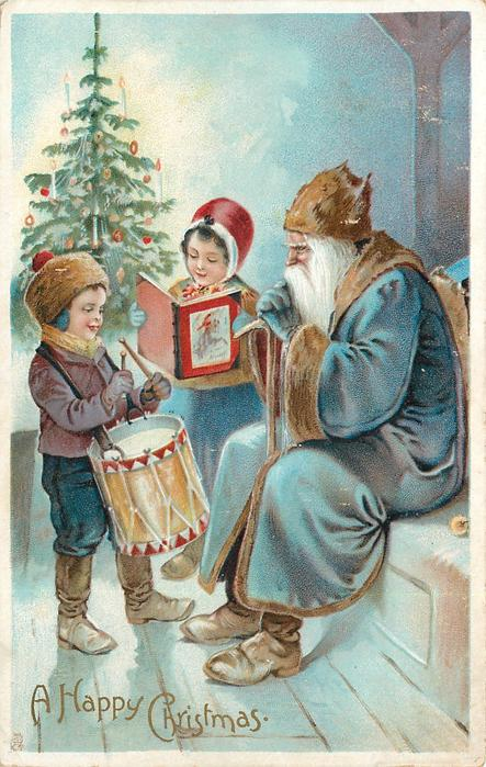 A HAPPY CHRISTMAS seated blue robed Santa with boy and girl