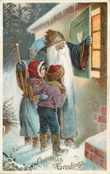 CHRISTMAS GREETINGS blue robed Santa opens shutter, with boy and girl