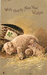 WITH HEARTY NEW YEAR WISHES pig and four piglets, 4 leaf clover on basket