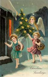 CHRISTMAS GREETINGS, angel  carries Christmas tree, two cherubs precede