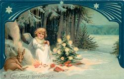 CHRISTMAS GREETINGS  angel sits at fire with deer, next to Xmas tree, blue decorated border above