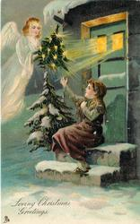 LOVING CHRISTMAS GREETINGS  angel  with Xmas tree appears to girl sitting on step