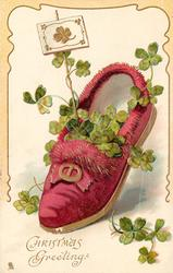 CHRISTMAS GREETINGS  carmine slipper, gold 4 leaf clover on placard