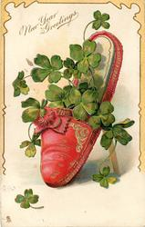 NEW YEAR GREETINGS  red slipper, 4 leaf clover leaves