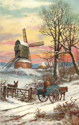 man is riding down snowy road with horse and buggy, donkey is looking out of fence of windmill grounds