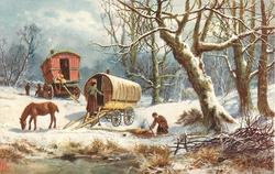 yellow and red caravans, horse in front, in snow