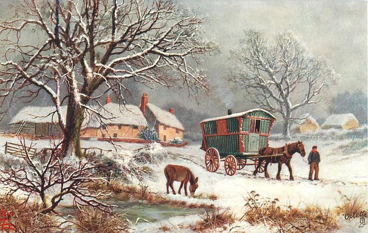 caravan with mule alongside, in snow