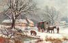 caravan with mule alongside, in snow