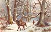 man riding sidesaddle on carthorse, another walking behind in woods