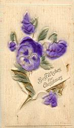 BEST WISHES FOR CHRISTMAS purple pansies with gilt embossed leaves