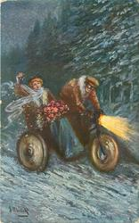 snow scene, couple drive right in motor cycle with side-car, bringing roses