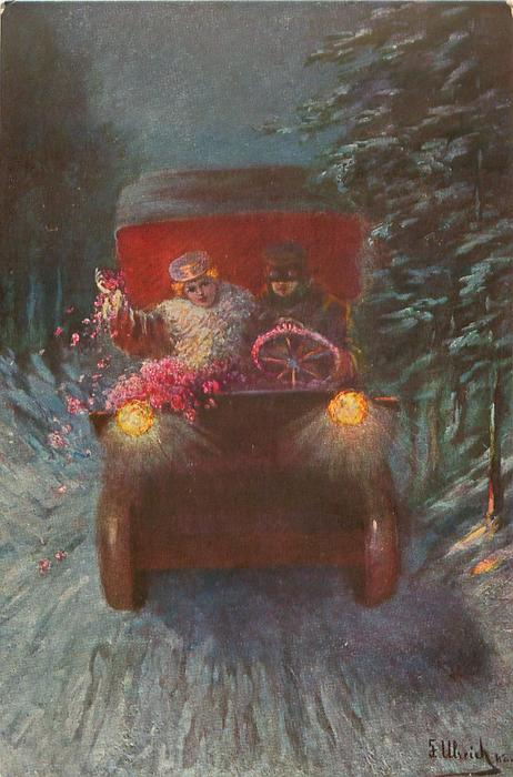 night snow scene, couple drive antique car front on country road, she scatters flowers