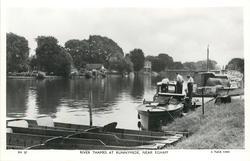 RIVER THAMES AT RUNNYMEADE, NEAR EGHAM three men and boats