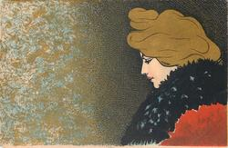 nouveau woman with gilt hair & black scarf, image to right of card