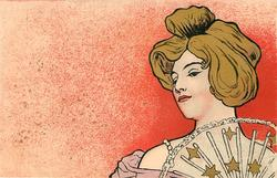 nouveau woman with gilt hair & fan with stars on it, image to right of card, red background