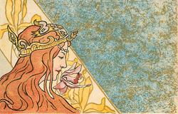 nouveau woman with brown hair & coronet, image to left of card, patterned blue/gold background