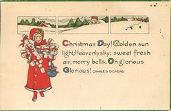 three tiny insets of snow scenes above girl carrying presents,