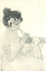 girl playing instrument, not harp