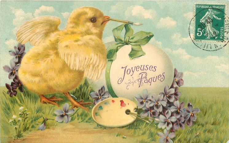 chick with paint brush in its beak, palette front, lage egg with green ribbon & bow, violets around