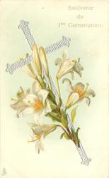silver cross, Easter lilies