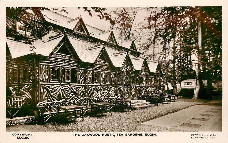 THE OAKWOOD RUSTIC TEA GARDENS from right, benches against front