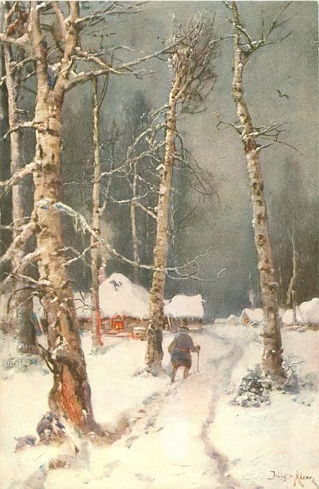 snow scene, man is walking with cane toward house on path between birch trees