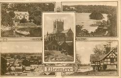 5 insets ERBISTOCK FERRY/MERE & OTELEY HALL/THE CHURCH/BIRD'S EYE VIEW/BOATHOUSE. COLEMERE