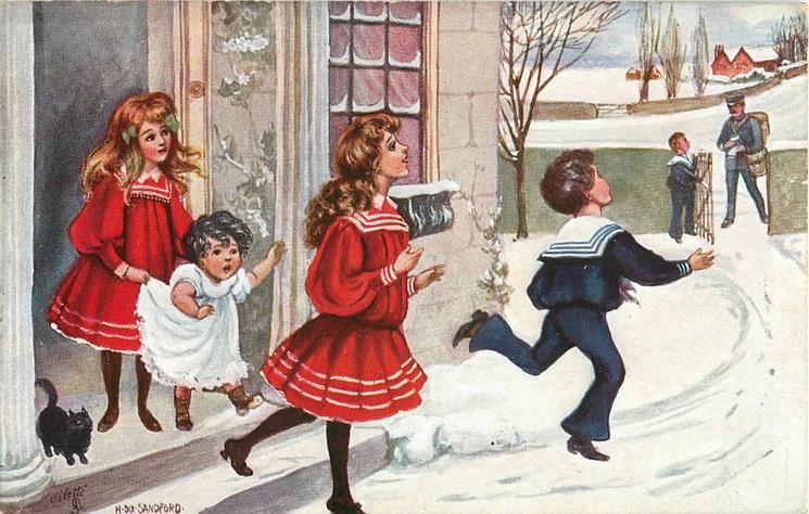 five children meet the mailman in snow