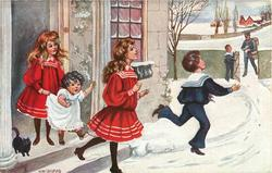 five children meet the mailman in snow